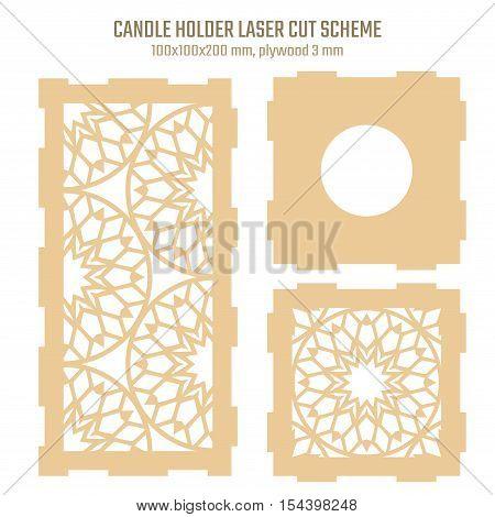 DIY Laser Cutting Vector Scheme for Candle Holder. Woodcut Lantern plywood 3mm. Oriental Geometric design.