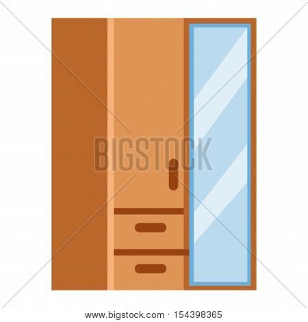 Bedside table furniture interior room vector illustration. Interior storage cupboard isolated. Modern drawer wardrobe cupboard isolated. Wooden home cupboard isolated vector container.