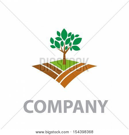 Vector logo Organic farming Greengrocer in abstract shape