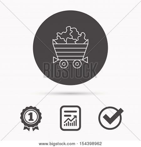 Minerals icon. Wheelbarrow with jewel gemstones sign. Report document, winner award and tick. Round circle button with icon. Vector