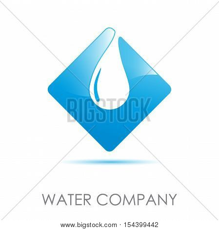 Vector logo blue safeguarding water in abstract shape