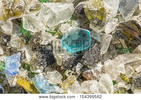 Colorful  textures of Broken glass, shattered, broken glass pieces, glass debris cracked glass broken bottles