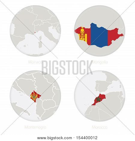 Monaco, Mongolia, Montenegro, Morocco map contour and national flag in a circle. Vector Illustration.