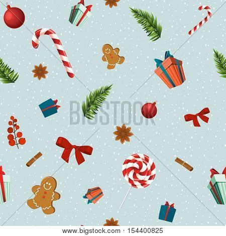 Merry Christmas vector seamless pattern with traditional elements: candy gingerbread man bow fir branch gift Christmas ballHollyberry and spices: star anise and cinnamon.Pattern trimmed with Clipping Mask.