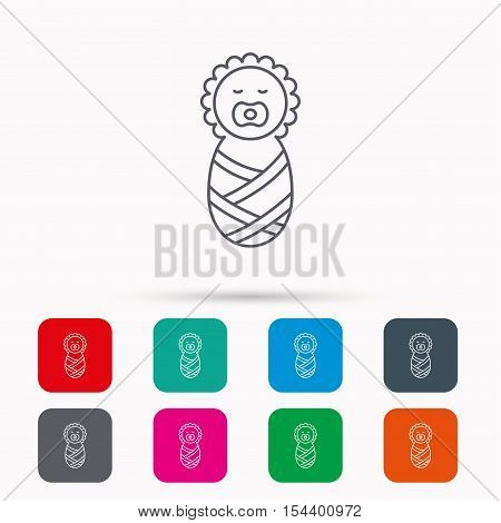 Newborn baby icon. Toddler sign. Child wrapped in blanket symbol. Linear icons in squares on white background. Flat web symbols. Vector