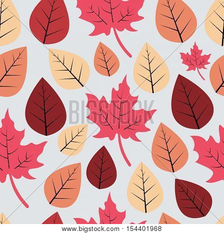 Seamless decorative vector pattern with red,  dusty pink leaves on grey background.