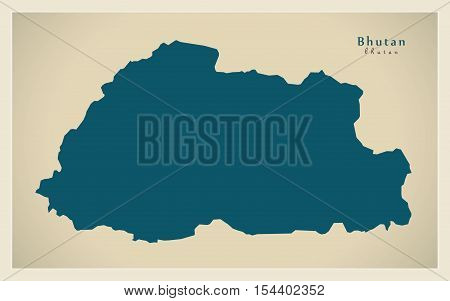 Modern Map - Bhutan BT illustration vector