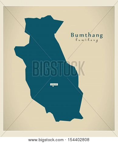 Modern Map - Bumthang BT Bhutan illustration vector