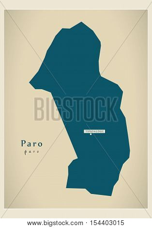 Modern Map - Paro BT Bhutan illustration vector