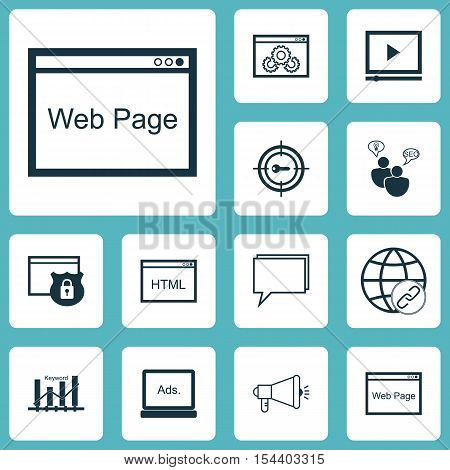 Set Of Seo Icons On Video Player, Website Performance And Website Topics. Editable Vector Illustrati