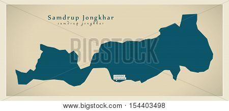 Modern Map - Samdrup Jongkhar BT Bhutan illustration vector