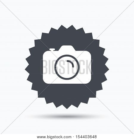 Camera icon. Professional photocamera symbol. Gray star button with flat web icon. Vector