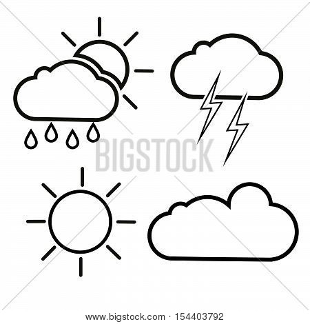 Set of vector weather icons, isolated white silhouettes of clouds, sun, rain and thunder.