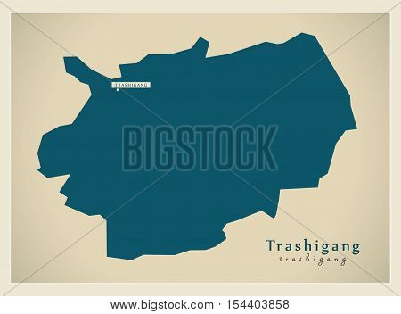 Modern Map - Trashigang BT Bhutan illustration vector