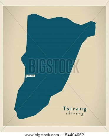 Modern Map - Tsirang BT Bhutan illustration vector