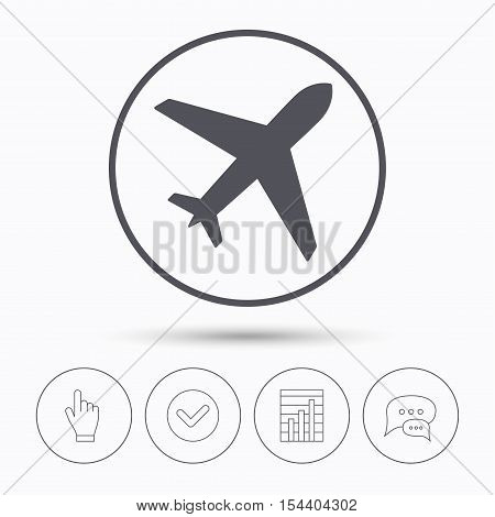 Plane icon. Flight transport symbol. Chat speech bubbles. Check tick, report chart and hand click. Linear icons. Vector