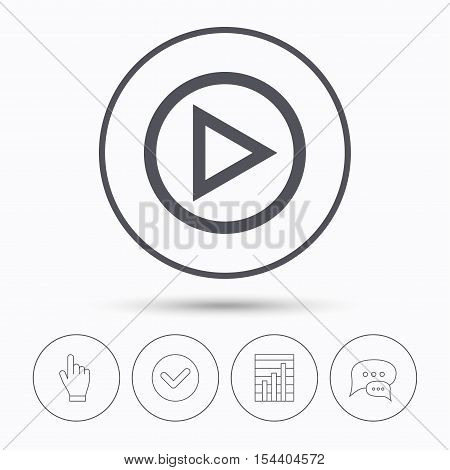 Play icon. Audio or Video player symbol. Chat speech bubbles. Check tick, report chart and hand click. Linear icons. Vector