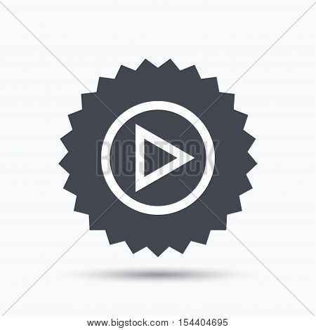 Play icon. Audio or Video player symbol. Gray star button with flat web icon. Vector