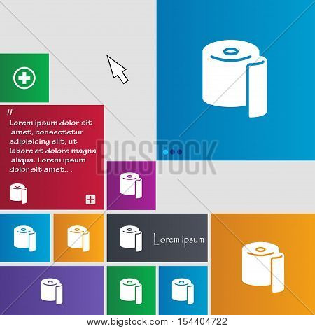 Toilet Paper Icon Sign. Buttons. Modern Interface Website Buttons With Cursor Pointer. Vector