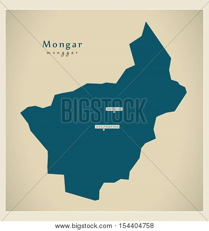 Modern Map - Mongar BT Bhutan illustration vector