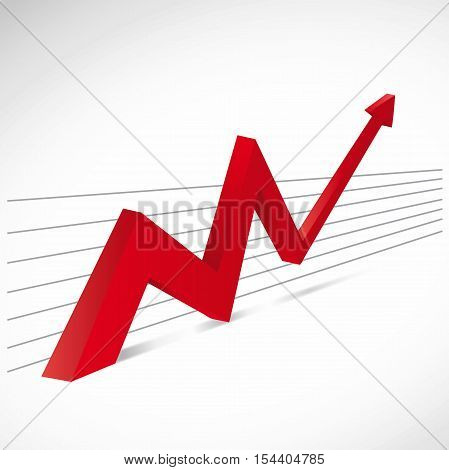 Vector red financial growth with arrow on motion