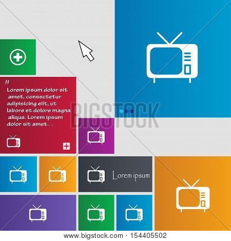 Tv Icon Sign. Buttons. Modern Interface Website Buttons With Cursor Pointer. Vector