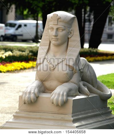 old sphinx restored in park in osijek croatia