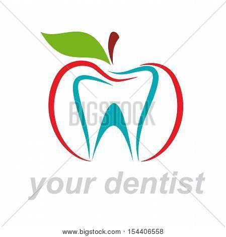 Vector logo dentist. Bite the apple, isolated illustration