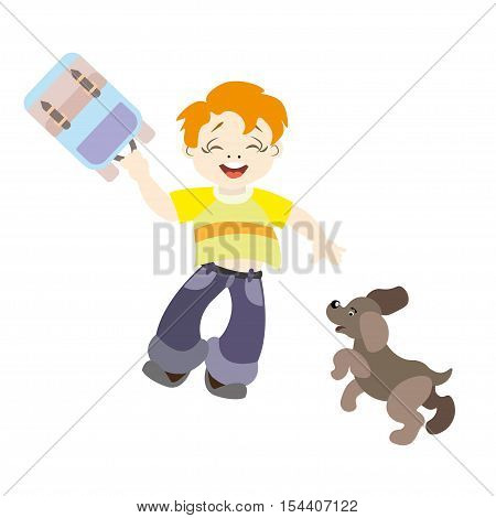 Auburn cheerful boy of school age in jeans and a backpack with a dog