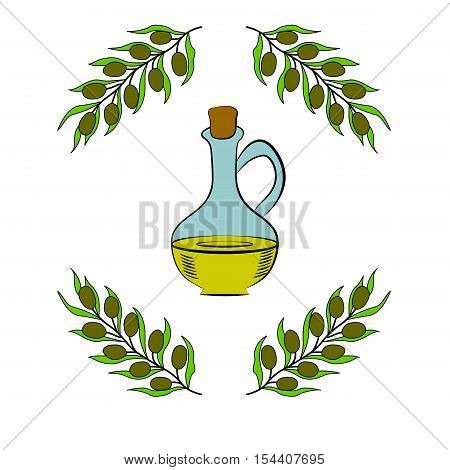 Jug glass of Olive oil with cork stopper and branch with leaves. Hand drawn design element. Vintage illustration in color, decorative frame. Isolated on white