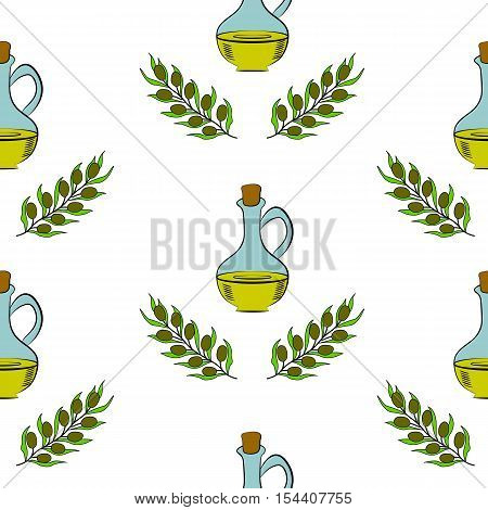 Jug glass of Olive oil with cork stopper and branch with leaves. Hand drawn design element. Vintage illustration in color, decorative frame. Isolated on white,seamless pattern.