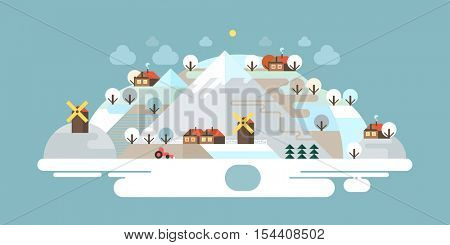 Landscape in the mountains. Solitude in nature by the river. Hiking and camping. Vector flat illustration. Mountain trail. Winter.