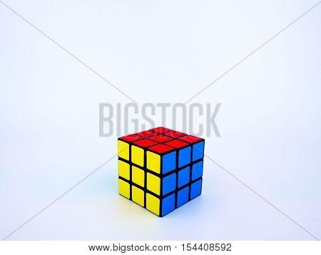 Bangkok Thailand - October 27th 2016: Colorful Rubik's cube on white background