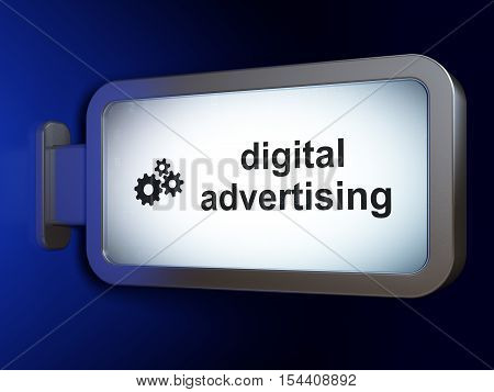 Advertising concept: Digital Advertising and Gears on advertising billboard background, 3D rendering