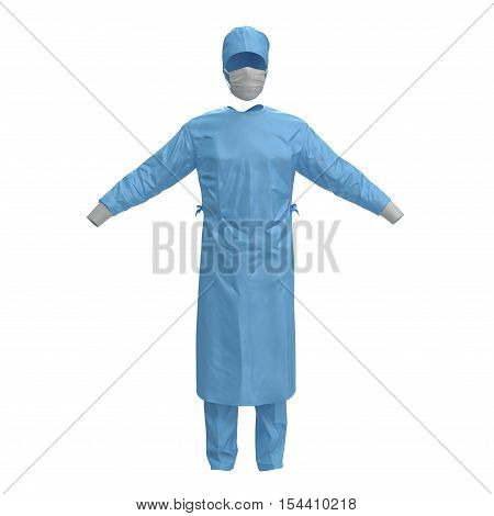 Medical workers clothes isolated on white. No people. 3D illustration