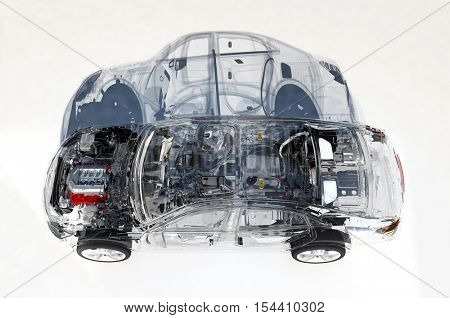 Disassembled car on a white background.,3d render