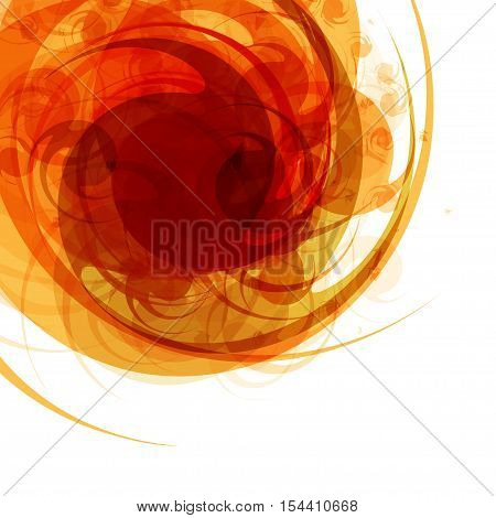 Bright red abstract background in the form of a vortex with space for text on white background. Vector illustration