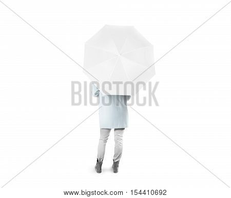 Lady stand backwards with white blank umbrella opened mockup, clipping path. Female person hold clear umbel overhead. Plain surface gamp mockup. Man holding protective accesory gingham cover handle.
