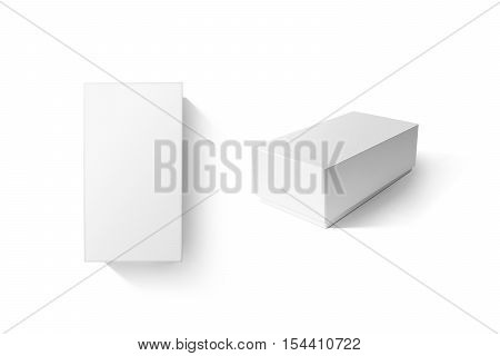 White carton product box set mockup, top side view, clipping path. Clear blank rectangular cardboard phone crate mock up. Plain closed shoe package template isolated. Smartphone store product pack.