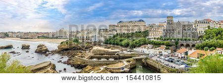 BIARRITZ,FRANCE - AUGUST 31,2016 - Panoramic view at the Biarritz city. Biarritz is a city on the Bay of Biscay on the Atlantic coast in the Pyrenees-Atlantic department.