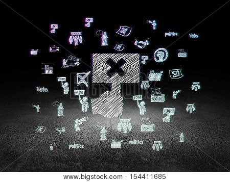 Politics concept: Glowing Protest icon in grunge dark room with Dirty Floor, black background with  Hand Drawn Politics Icons