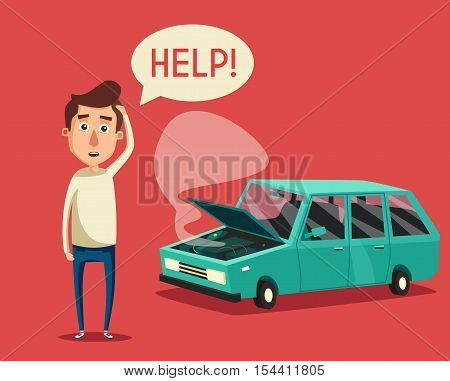 Broken car. Vector cartoon illustration. Need help. Car with open hood. Unhappy man. Human character