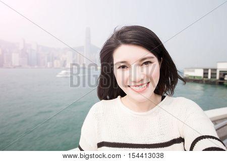 beauty woman smile and selfie in hongkong