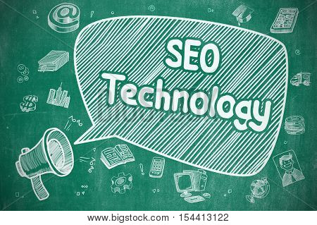 Yelling Megaphone with Phrase SEO Technology on Speech Bubble. Cartoon Illustration. Business Concept. Business Concept. Bullhorn with Text SEO Technology. Doodle Illustration on Blue Chalkboard.