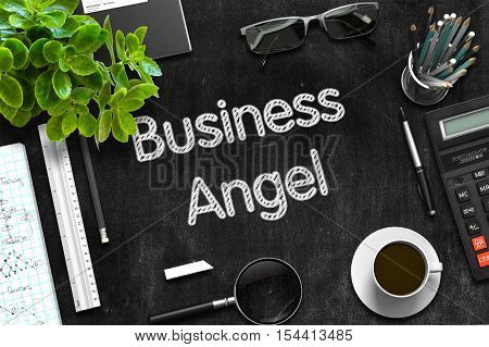 Black Chalkboard with Handwritten Business Concept - Business Angel - on Black Office Desk and Other Office Supplies Around. Top View. 3d Rendering.