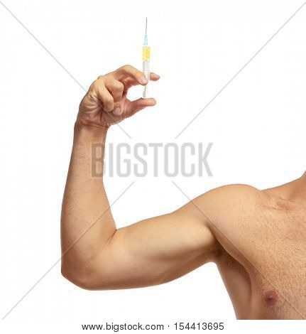 Sportsman hand  holding syringe on white background