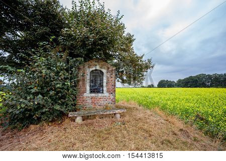 on land with yellow flowers there is a small chapel