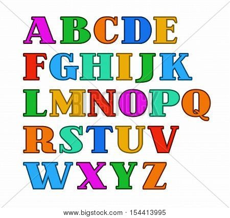 English alphabet, capital letters, colored with a thin outline. Vector colored serif font and a subtle contour on white background.