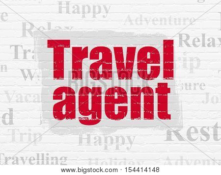Travel concept: Painted red text Travel Agent on White Brick wall background with  Tag Cloud