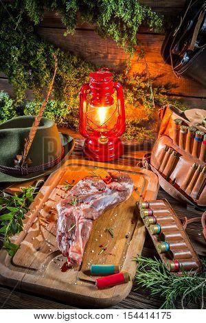 Venison Prepared For Roasting In Hunter Lodge